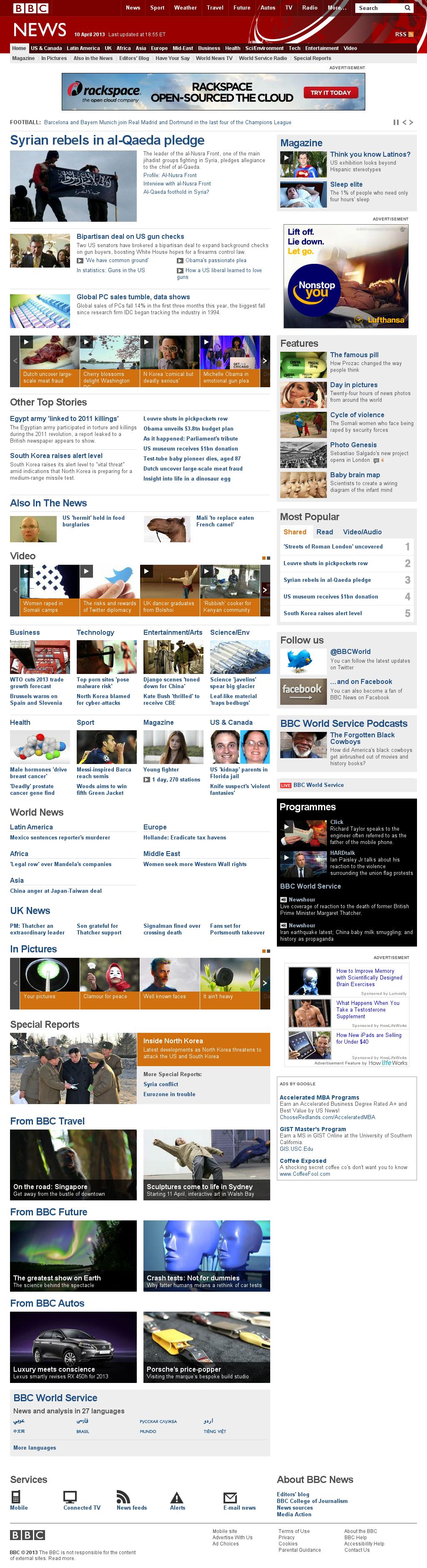 BBC at Wednesday April 10, 2013, 11:02 p.m. UTC