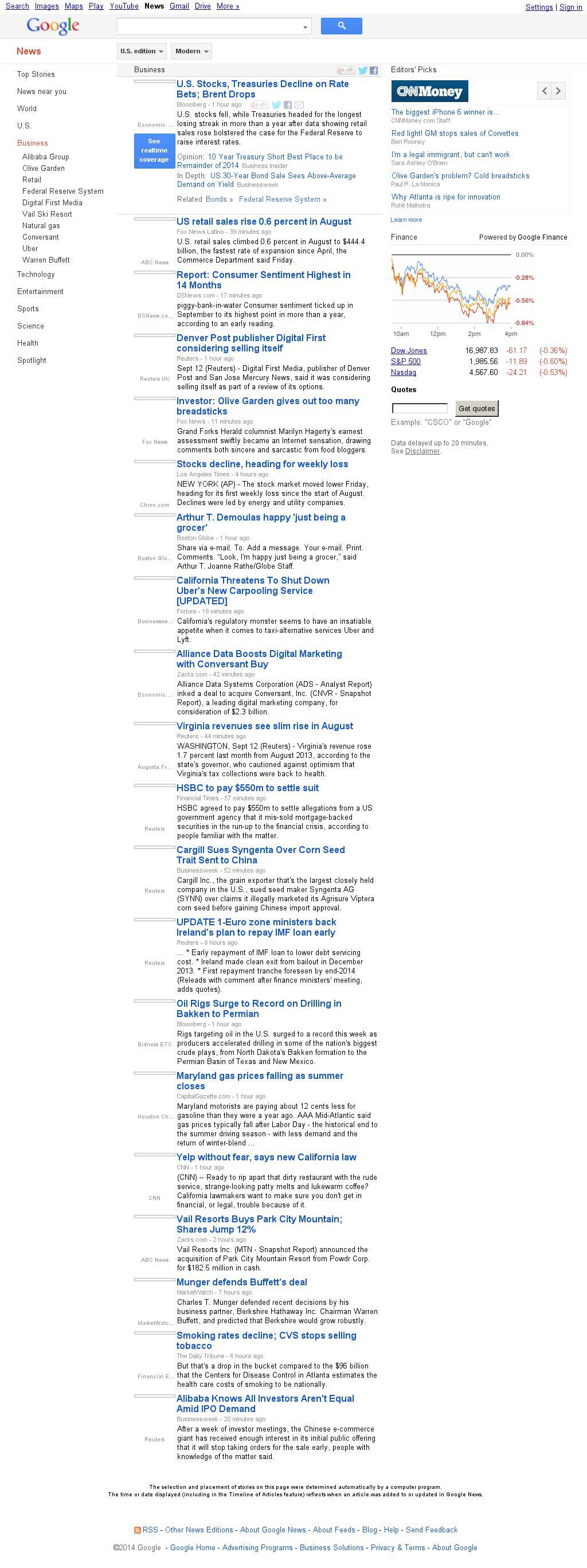 Google News: Business at Friday Sept. 12, 2014, 8:07 p.m. UTC