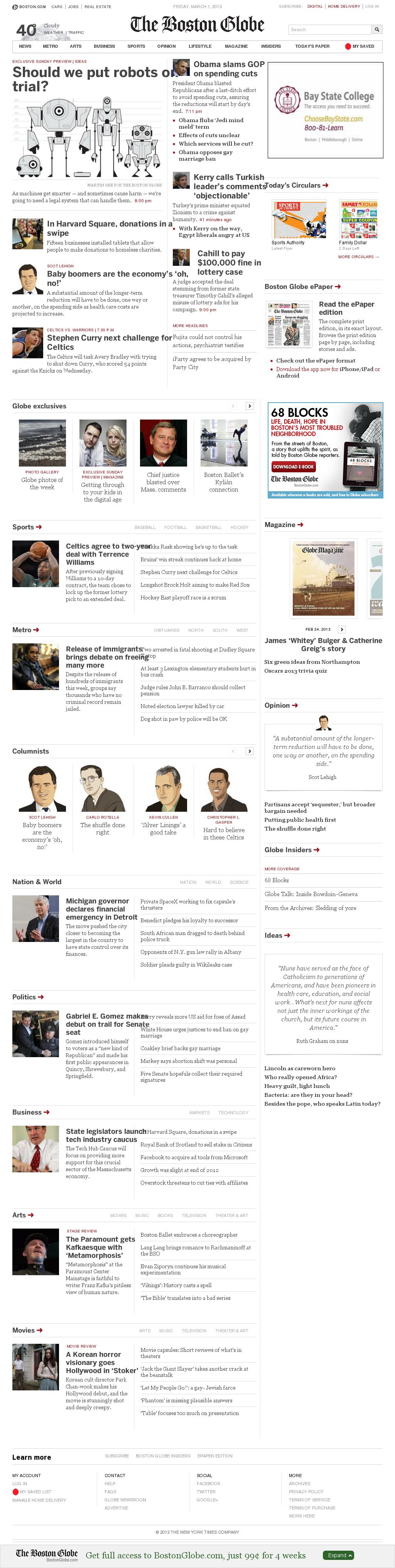 The Boston Globe at Friday March 1, 2013, 10:02 p.m. UTC