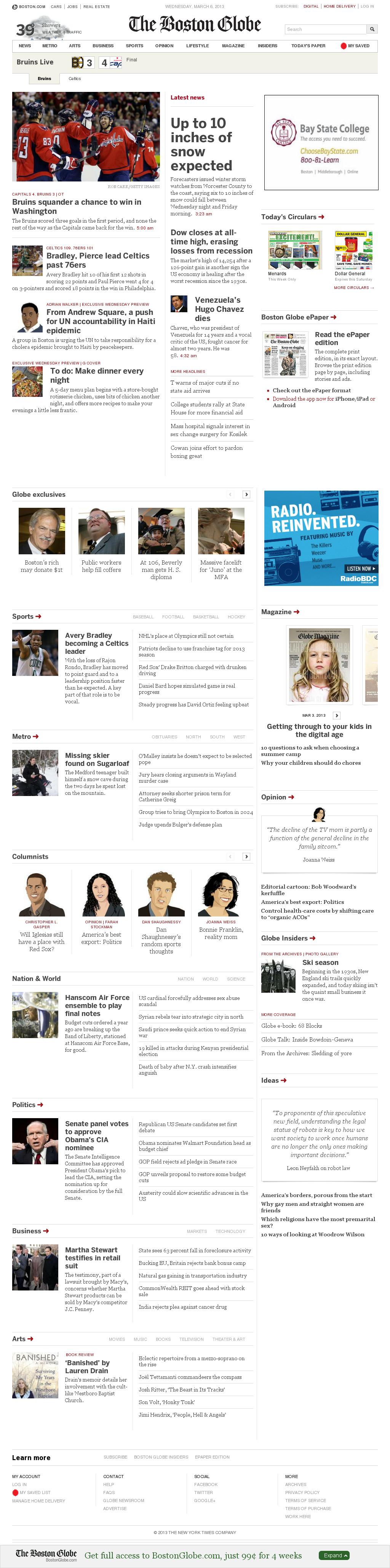 The Boston Globe at Wednesday March 6, 2013, 6:02 a.m. UTC