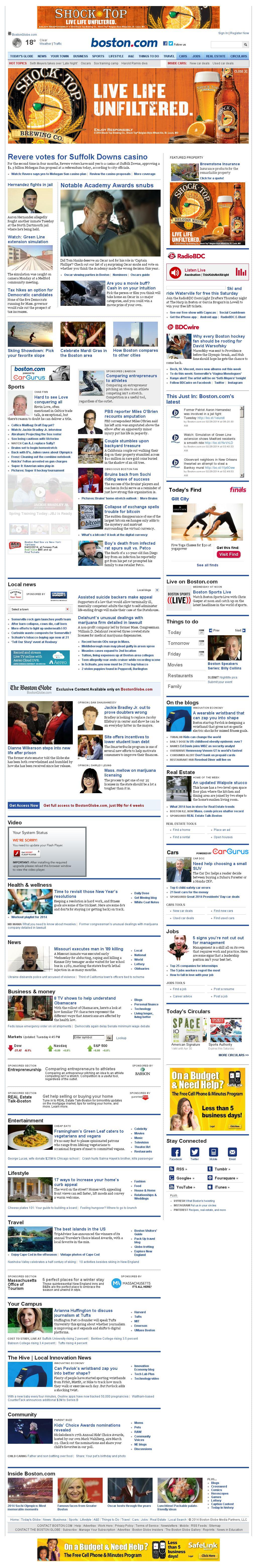 Boston.com at Wednesday Feb. 26, 2014, 10:01 a.m. UTC