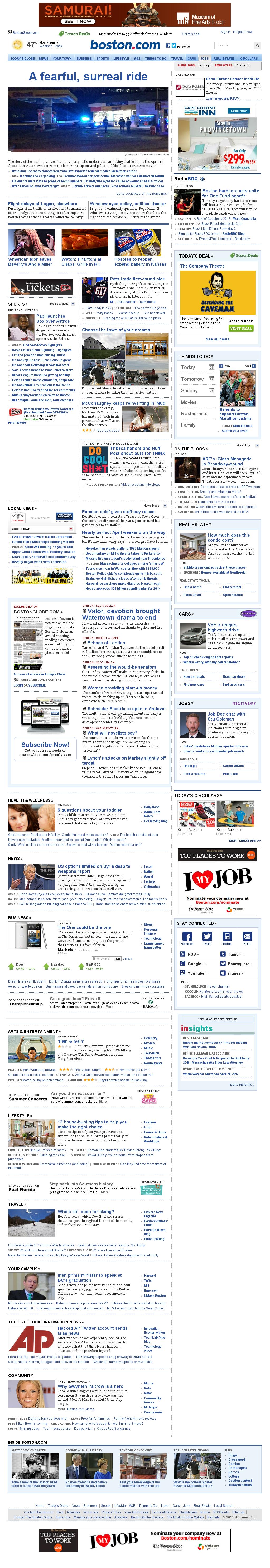 Boston.com at Friday April 26, 2013, 12:01 p.m. UTC