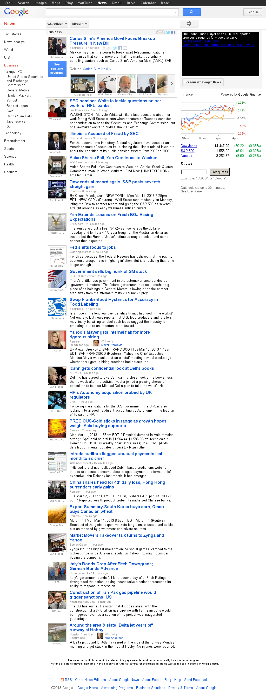 Google News: Business at Tuesday March 12, 2013, 6:07 a.m. UTC