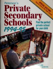 Cover of: Private Secondary Schools 1994-1995 | Peterson's